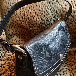 Coach Bags - COACH Black Leather with White Stitching Bag